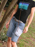 Upcycled Denim Levi's Pocket Purse Antique White Zipper and Cord - hisOpal Swimwear - 5