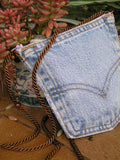 Upcycled Denim Levi's Pocket Purse Antique White Zipper and Cord - hisOpal Swimwear - 2