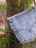 Upcycled Denim Levi's Pocket Purse Antique White Zipper and Cord - hisOpal Swimwear - 4