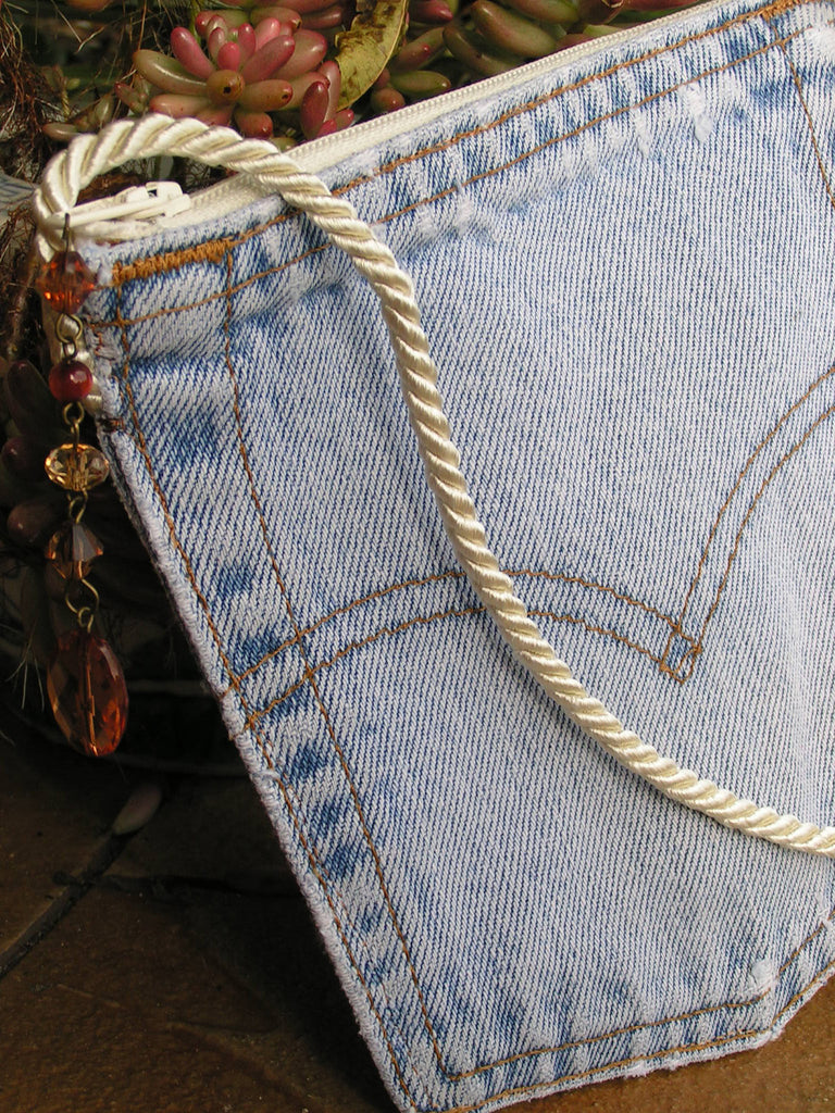 Upcycled Denim Levi's Pocket Purse Antique White Zipper and Cord - hisOpal Swimwear - 1