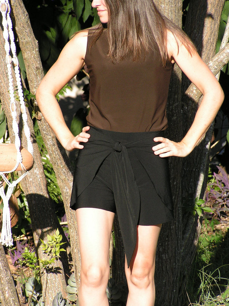 Wrap Around Shorts Tie On Swim Cover Up Classic Black Womens Fashion sarong - hisOpal Swimwear - 1