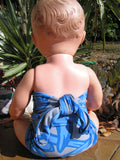 Baby Bathing Suit Grey and Blue Floral Wrap Around Swimsuit Newborn Girls to Toddler 3 Girls One Size Swimwear - hisOpal Swimwear - 4