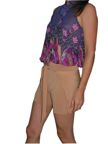 Womens Wrap Around Shorts Tie On Swimsuit Cover Up Gold hisOpal sarong