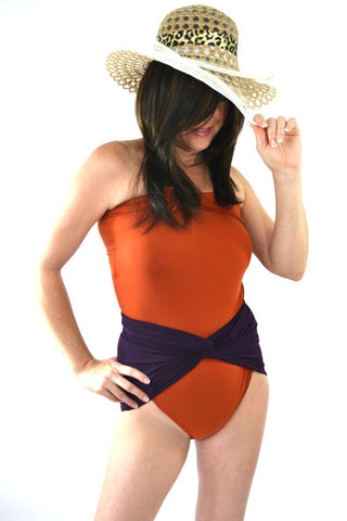 Medium Bathing Suit Rust with Plum Wrap Around Swimsuit Convertible Swimwear One Piece Wrap
