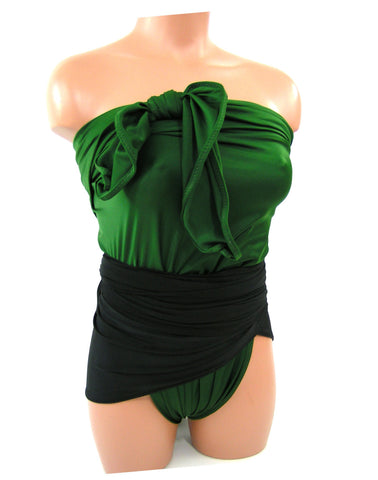 Extra Large Bathing Suit Wrap Around Swimsuit Hunter Green and Black Plus Size Womens Swimwear
