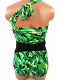 Large Bathing Suit Bright Camo Print with Classic Black Wrap Around Swimsuit Convertible Swimwear for Women, Teens and Maternity - hisOpal Swimwear - 6