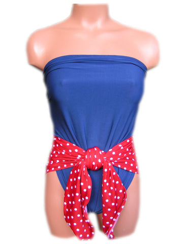 Small Bathing Suit Pin Up Girl Americana Red White Polka Dots w/ Navy Blue Wrap Swimsuit Petite