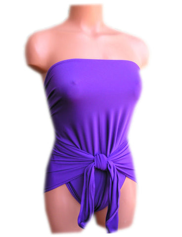 Small Bathing Suit Wrap-around Swimsuit Solid Purple Petite Womens and Teens Swimwear hisOpal