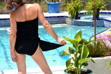 Medium Bathing Suit Classic Black Wrap Around Swimsuit One Wrap Swimwear Bikini High Waist - hisOpal Swimwear - 3