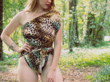 Medium Bathing Suit Wrap Around Swimsuit Leopard Turquoise Womens Animal Print Swimwear - hisOpal Swimwear - 4