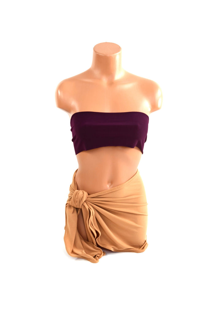 Women's Sarong Beach Cover Up Camel Color Wrap Around Skirt Tie On Shirt Pool Swimsuit Cover - hisOpal Swimwear - 1
