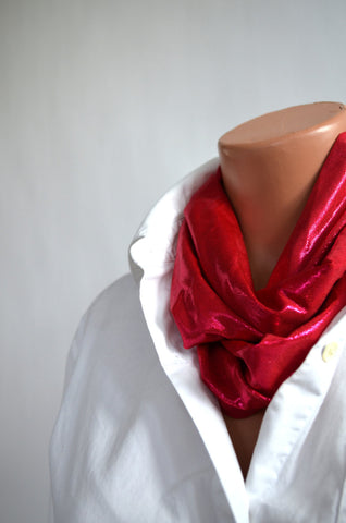Metallic Ruby Red Infinity Scarf Lightweight Layering Womens Ascot Unisex Club Wear hisOpal