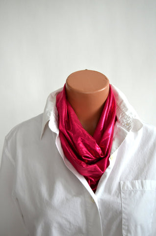 Metallic Hot Pink Infinity Scarf Lightweight Layering Fashion Piece Womens and Teens Holiday Ascot