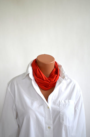 Soft Orange Infinity Scarf Lightweight Layering Fashion Piece Womens Ascot Autumn Accessory