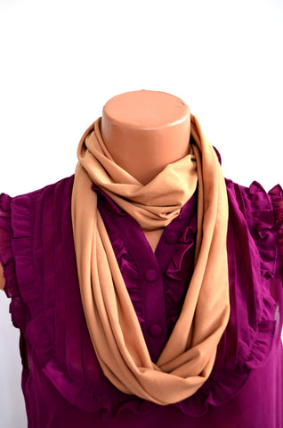 Camel Color Infinity Scarf Lightweight Layering Fashion Accent Womens Ascot Autumn Scarf