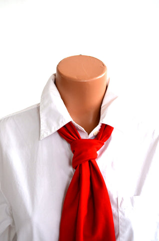 Tomato Red Scarf Women's Neck Tie Lightweight Scarf Head Wrap Cravat Unisex Club Wear Neck Bow