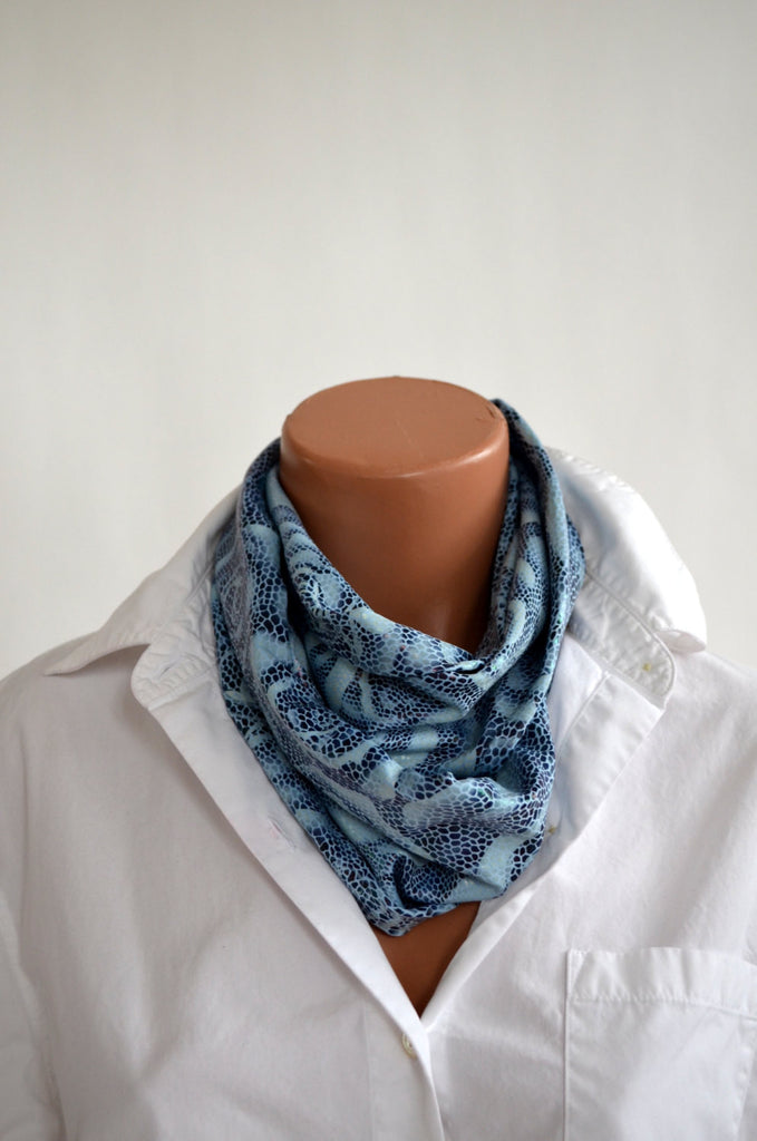 Infinity Scarf Metallic Blue Snakeskin and Rose Print Lightweight Layering Fashion Accessories Women's Ascot Neck Warmer - hisOpal Swimwear - 1