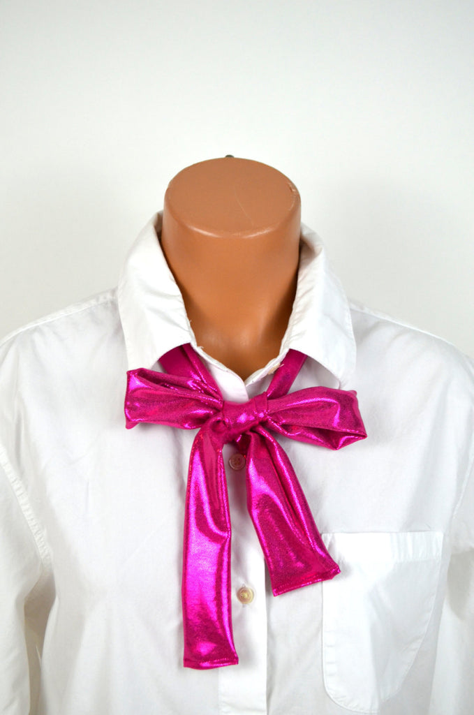 Metallic Hot Pink Scarf Tie Lightweight Layering Fashion Accessories Women's Neck Tie Neck Bow - hisOpal Swimwear - 1