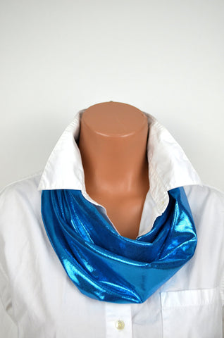 Metallic Peacock Blue Infinity Scarf Lightweight Womens Layering Fashion Piece Long