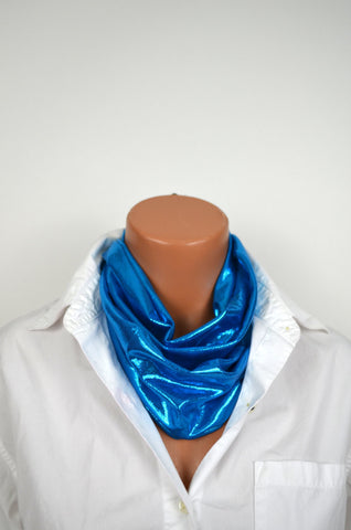 Metallic Peacock Blue Infinity Scarf Lightweight Layering Fashion Piece