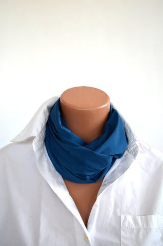 Long Teal Infinity Scarf Lightweight Layering Fashion Piece Womens Ascot