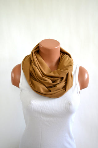 Nutmeg Tan Long Infinity Scarf Lightweight Layering Women's Ascot Neck Warmer Throat Cancer Scarf