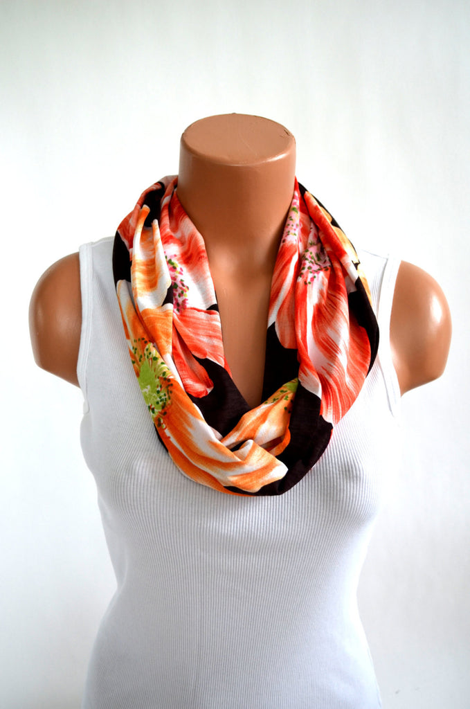 Infinity Scarf Summer Hibiscus Peach, Brown and Orange Lightweight Layering Fashion Accent Women's Ascot - hisOpal Swimwear - 1