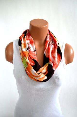 Infinity Scarf Summer Hibiscus Peach, Brown and Orange Women's Ascot Cravat