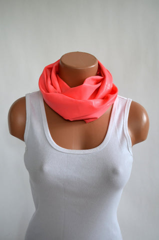 Metallic Coral Short Infinity Scarf Lightweight Layering Peach Neck Warmer Women's Ascot