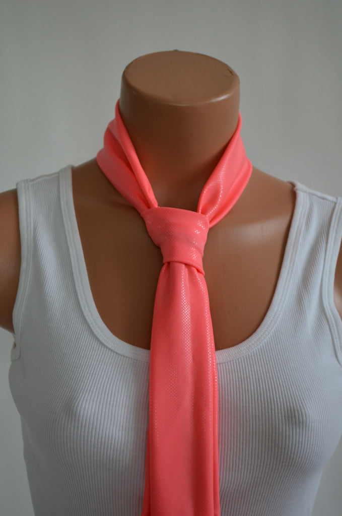 Metallic Coral Scarf  Neck Tie Lightweight Layering Fashion Accessories Women's Ascot - hisOpal Swimwear - 1