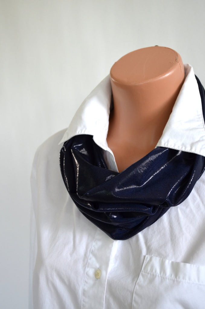 Long Infinity Scarf Metallic Navy Blue Lightweight Layering Fashion Accessories Women's Ascot - hisOpal Swimwear - 1