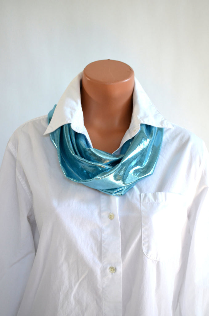 Metallic Hawaiian Blue Long Infinity Scarf Lightweight Layering Women's Ascot Neck Wrap hisOpal - hisOpal Swimwear - 1