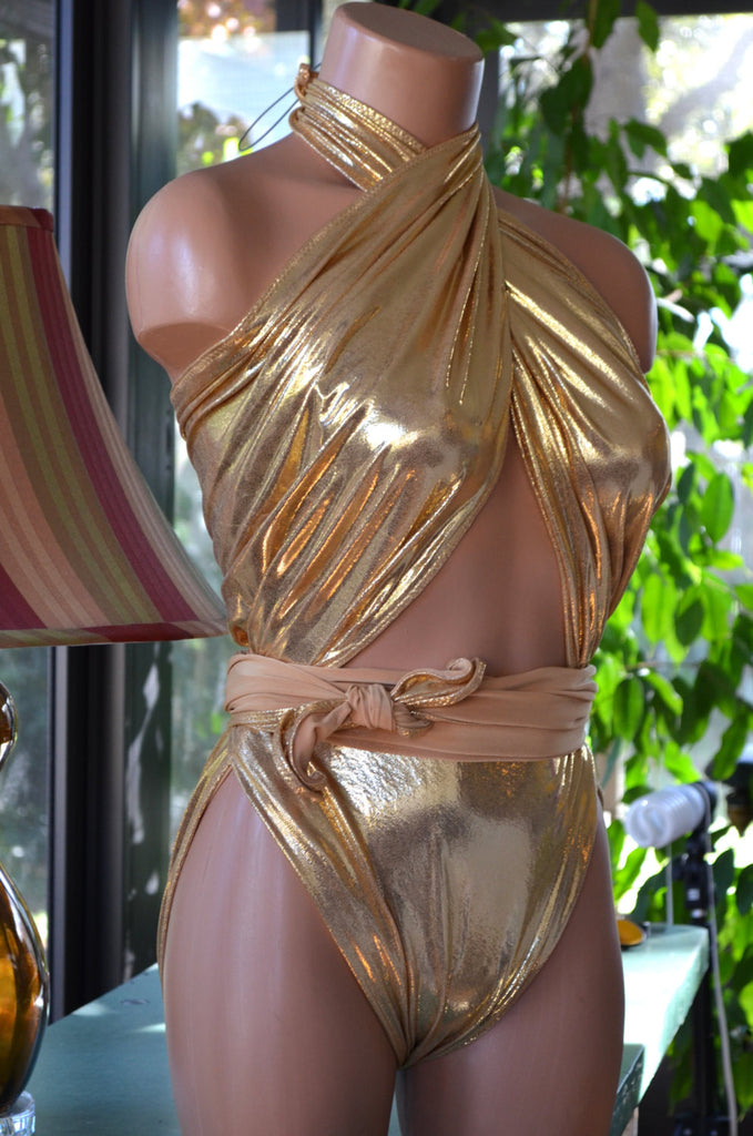 Metallic Medium Bathing Suit Wrap Around Swimsuit Liquid Gold Unique Swimwear Body Suit Gold - hisOpal Swimwear - 1