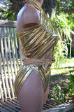 Metallic Medium Bathing Suit Wrap Around Swimsuit Liquid Gold Unique Swimwear Body Suit Gold - hisOpal Swimwear - 2