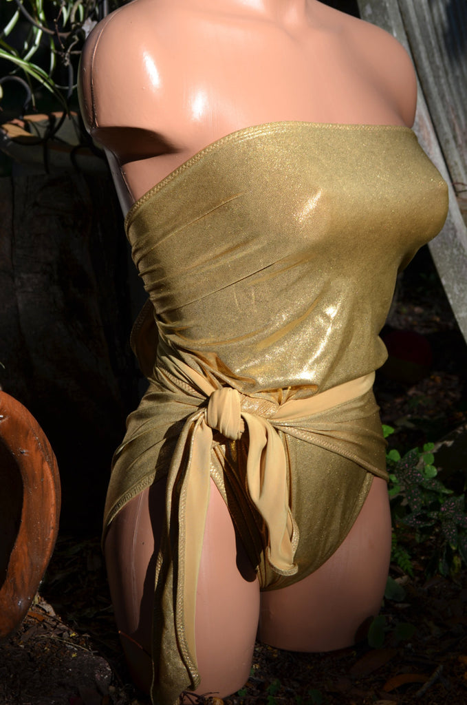 Small Bathing Suit Liquid Metallic Gold Wrap-around Swimsuit Petite Fashion Swimwear hisOpal - hisOpal Swimwear - 1