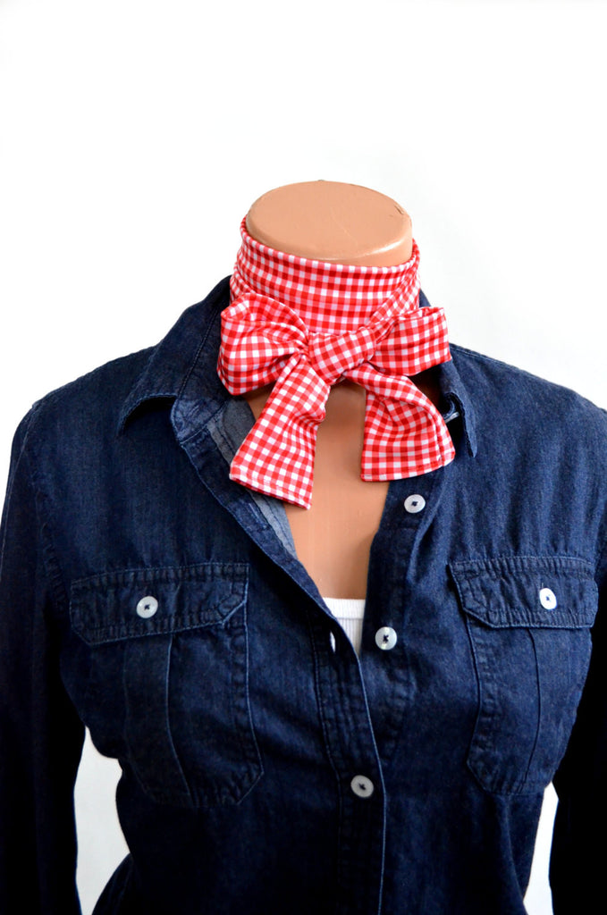 Women's Neck Tie Red Gingham Print Neck Bow Lightweight Scarf Layering Hair Tie Ladie's Ascot - hisOpal Swimwear - 1
