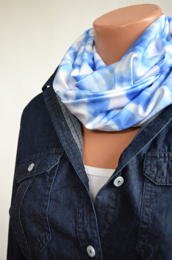 Infinity Scarf Short Blue Skies with White Clouds Lightweight Layering Fashion Accessories Women's Ascot Neck Warmer - hisOpal Swimwear - 1