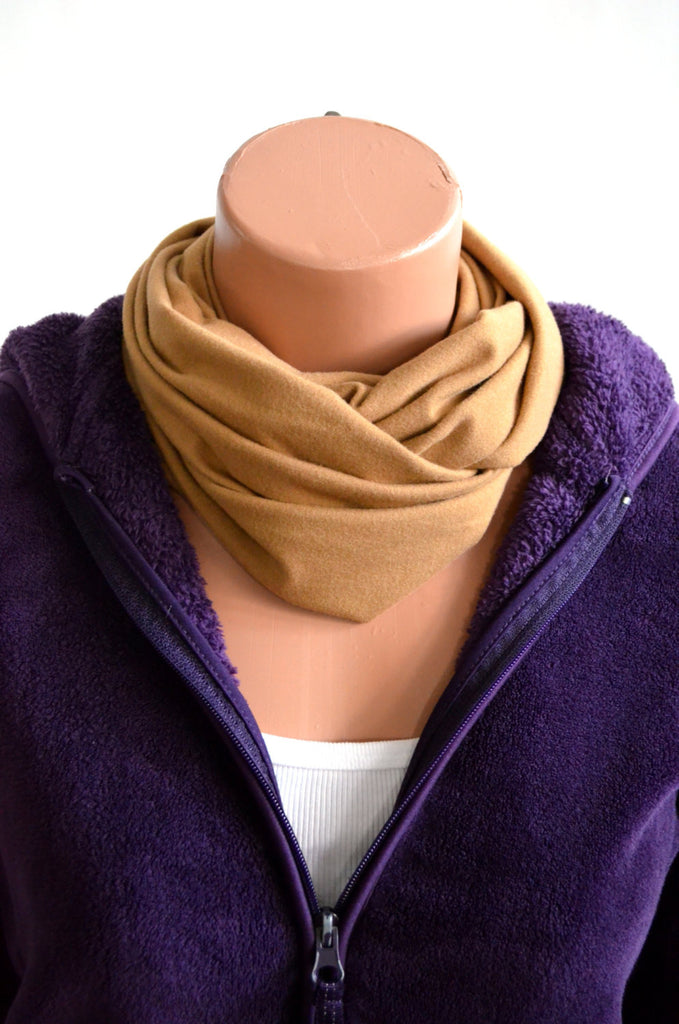 Nutmeg Tan Short Infinity Scarf Lightweight Layering Fashion Accessories Womens Ascot Neck Warmer - hisOpal Swimwear - 1