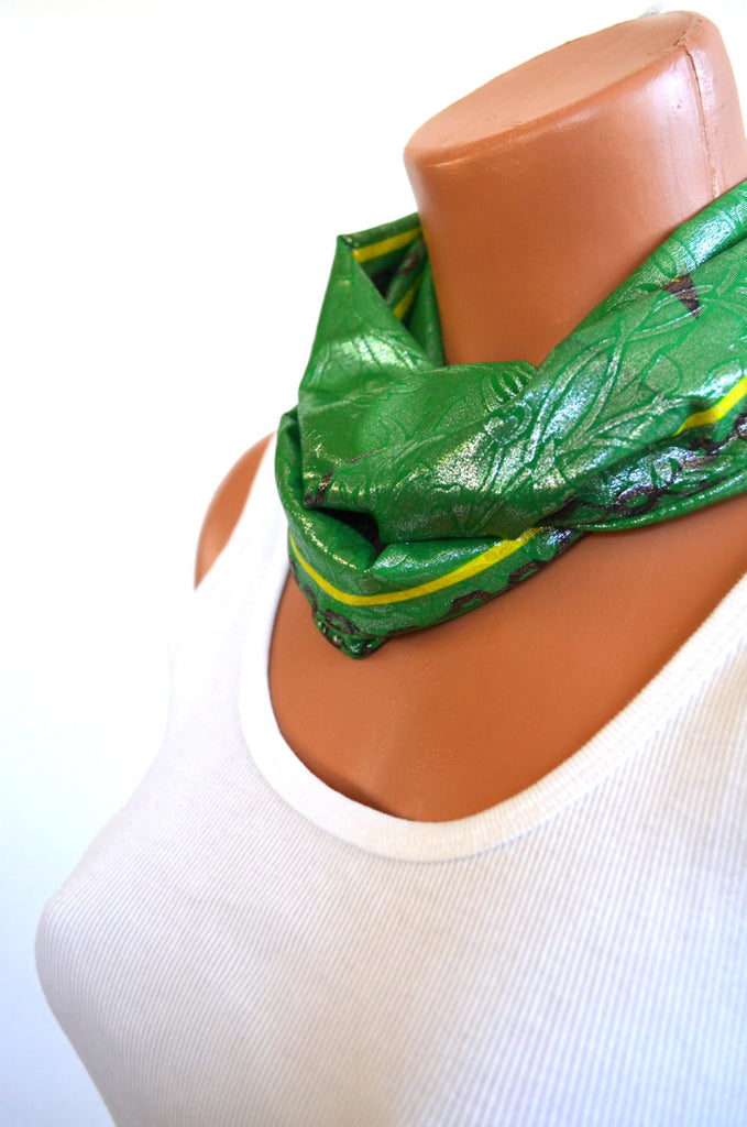 Infinity Scarf Short Metallic Kelly Green with Yellow Flowers Lightweight Layering Fashion Accessories Women's Ascot Neck Warmer - hisOpal Swimwear - 1