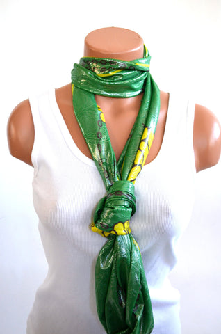Infinity Scarf Long Metallic Kelly Green with Yellow Flowers Women's Ascot