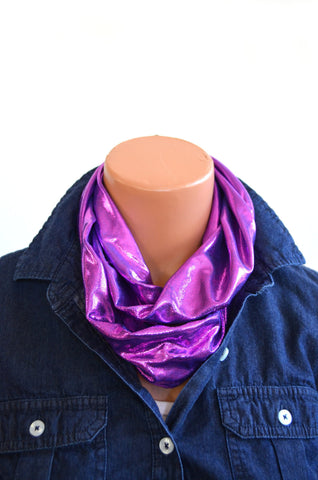 Infinity Scarf Short Metallic Hot Pink over Purple Lightweight Layering Ascot Cravat