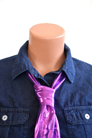 Metallic Hot Pink on Purple Scarf Women's Neck Tie Lightweight Layering Fashion Accessories