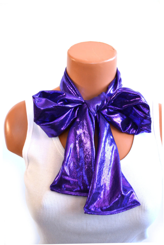Metallic Purple Scarf Women's Thick Neck Tie Lightweight Layering Unisex Necktie Clubwear Neck Bow - hisOpal Swimwear - 1
