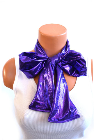 Metallic Purple Scarf Women's Thick Neck Tie Lightweight Layering Unisex Necktie Clubwear Neck Bow