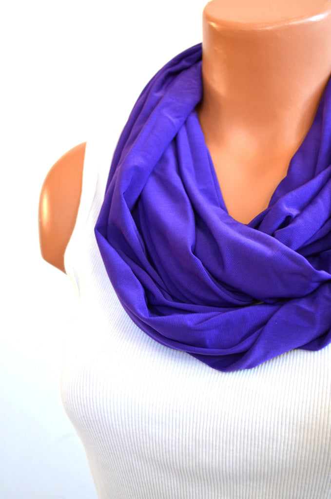 Purple Scarf Long Infinity Scarf Lightweight Layering Fashion Accessories Women's Ascot Neck Warmer - hisOpal Swimwear - 1