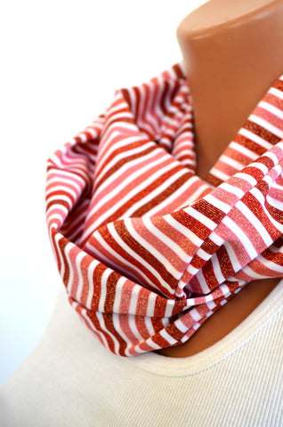 Infinity Scarf Short Ombre Red Stripes with Gold Glitter Lightweight Layering Ascot