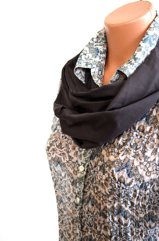 Charcoal Grey Infinity Scarf Lightweight Layering Women's Ascot Unisex Cravat