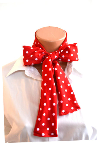 Women's Neck Tie Red with White Polka Dot Print Neck Bow Lightweight Scarf Hair Tie Ladie's Ascot