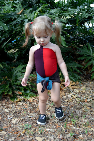 Baby Bathing Suit Color Block One Wrap Swimsuit Plum Teal Red Charcoal Court Jester Costume
