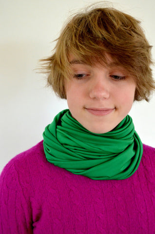 Kelly Green Infinity Scarf Lightweight Layering Fashion Accent Women's Ascot